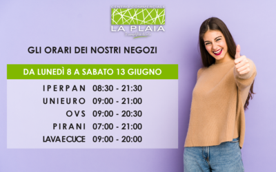 Opening hours of the La Plaia Cagliari shops from 8 to 13 June 2020